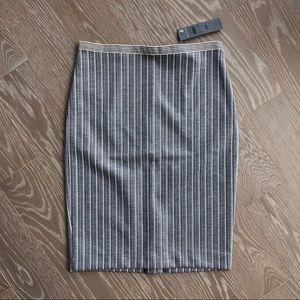 Ann Taylor Petite Pencil Skirt Gray Stripes 00P